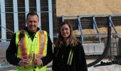Jeff Shipton, manager of corporate environmental services, and Lindsay Boyce, environmental process specialist, at Millar Western's bioenergy facility at its Whitecourt, Alta., pulp mill. Photo: Alberta Forest Products Association