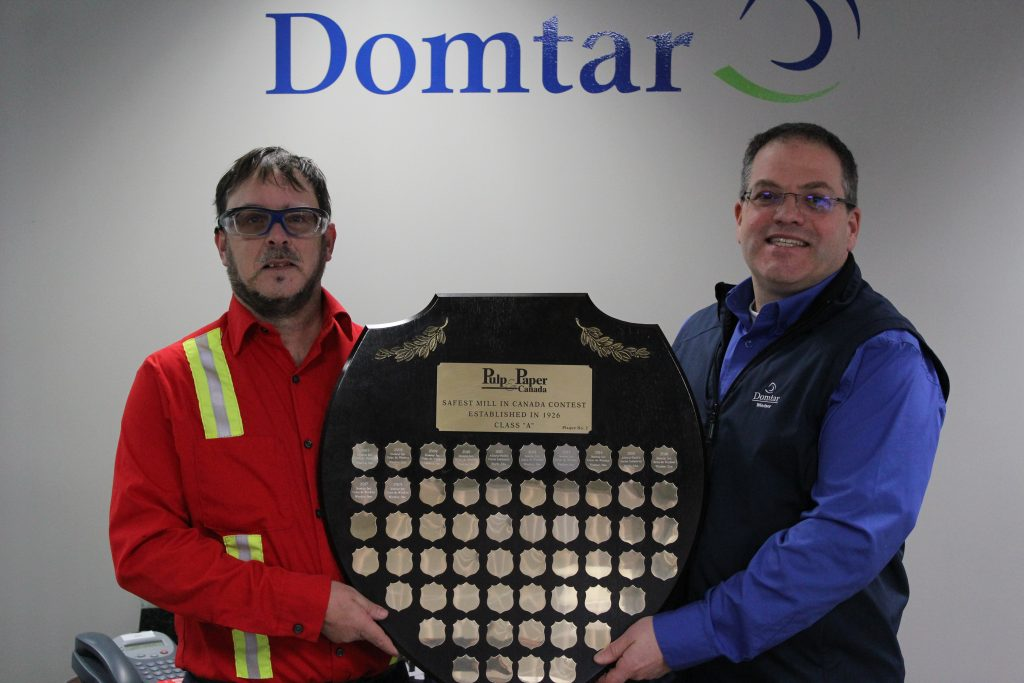 Pictured from left: Bruno Sonier, Woodyard, and Sylvain Bricault, general manager, both of Domtar Windsor mill, which won Pulp & Paper Canada's Safest Mill Category A award in 2018, 2017 and 2016. Photo courtesy Domtar