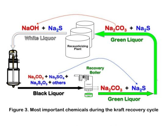 Figure 3. Most important chemicals during the kraft recovery cycle